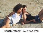 two girls model posing lying on ...   Shutterstock . vector #674266498