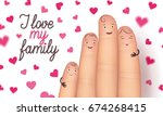 family day card. realistic cute ... | Shutterstock .eps vector #674268415