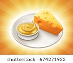 piece of cheese with a bowl of... | Shutterstock .eps vector #674271922