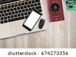 office desk table with office... | Shutterstock . vector #674273356