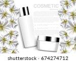 whitening cream and jasmine... | Shutterstock .eps vector #674274712