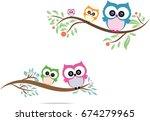 owl cute in vector | Shutterstock .eps vector #674279965