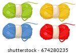 yarn  thread  knitting  weaving ... | Shutterstock .eps vector #674280235