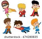 set of kids wearing superhero... | Shutterstock .eps vector #674280835