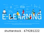 e learning concept. young... | Shutterstock .eps vector #674281222