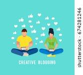 illustration blogging concept.... | Shutterstock .eps vector #674281246