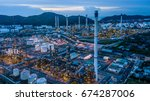 aerial view oil refinery and... | Shutterstock . vector #674287006