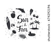sun and fun hand written... | Shutterstock .eps vector #674292196