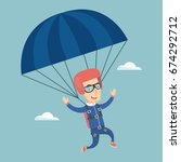 caucasian parachutist flying... | Shutterstock .eps vector #674292712