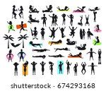 silhouettes collection of... | Shutterstock .eps vector #674293168
