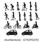 Stock vector people men and women riding modern electric scooters cars bicycles skateboards segway 674293192