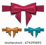 set of gift silk bow and ribbon.... | Shutterstock .eps vector #674295892