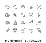 simple set of pet related... | Shutterstock .eps vector #674301205