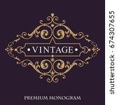 gold decorative frame. vector... | Shutterstock .eps vector #674307655