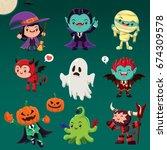 vintage halloween poster design ... | Shutterstock .eps vector #674309578