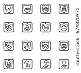 set of insurance vector thin... | Shutterstock .eps vector #674320972