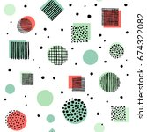 trendy seamless pattern with... | Shutterstock .eps vector #674322082