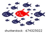 target audience a red fish... | Shutterstock .eps vector #674325022