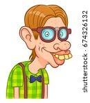 funny cartoon nerd on the white ... | Shutterstock .eps vector #674326132