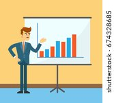 businessman standing near board ... | Shutterstock .eps vector #674328685