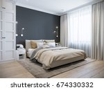 Stock photo urban contemporary modern scandinavian bedroom interior design mock up gray and white wall d 674330332