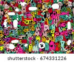 animals. cats and dogs vector... | Shutterstock .eps vector #674331226