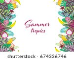 summer composition with leaves... | Shutterstock .eps vector #674336746