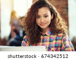 hipster woman use laptop huge... | Shutterstock . vector #674342512