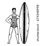 old fashioned surfer engraving...   Shutterstock .eps vector #674348998