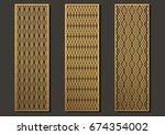 laser cut template panels set.... | Shutterstock .eps vector #674354002