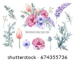 hand painted floral elements... | Shutterstock . vector #674355736