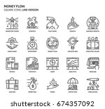 money flow  square icon set.... | Shutterstock .eps vector #674357092