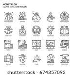 money flow  square icon set.... | Shutterstock .eps vector #674357092