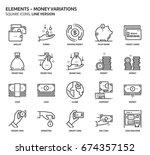 money elements  square icon set.... | Shutterstock .eps vector #674357152