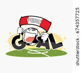 goal with cute soccer ball and... | Shutterstock .eps vector #674357725
