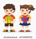 cute boy and girl holding big... | Shutterstock .eps vector #674360932
