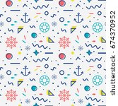 nautical seamless pattern with... | Shutterstock .eps vector #674370952