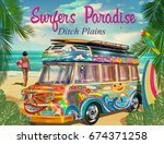 surf poster with retro bus and ...