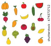 set of fruits and vegetables...   Shutterstock .eps vector #674373712