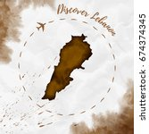 lebanon watercolor map in sepia ... | Shutterstock .eps vector #674374345