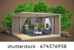 interior living room. 3d... | Shutterstock . vector #674376958
