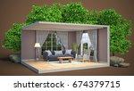 interior living room. 3d... | Shutterstock . vector #674379715