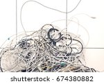 closeup of tangled computer... | Shutterstock . vector #674380882