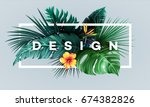 bright tropical background with ... | Shutterstock .eps vector #674382826
