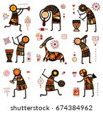 collection of nine patterns... | Shutterstock .eps vector #674384962