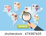 searching people on map. | Shutterstock .eps vector #674387635