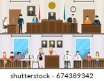 judical court interior set. | Shutterstock .eps vector #674389342