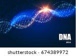 human dna molecule background.... | Shutterstock .eps vector #674389972