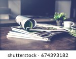 selective focus of the stacking ... | Shutterstock . vector #674393182