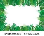 tropical leaves vector... | Shutterstock .eps vector #674393326